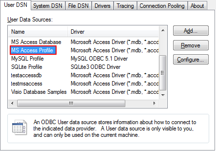 Microsoft Access Configuration | Online Documentation for