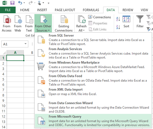 Connecting to the ODBC data source with Microsoft Excel
