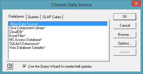 ODBC data source uses Ciiva Component Library