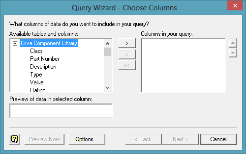 Choose the ODBC data source attributes